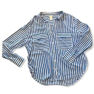 Blue and White Striped Button Down Nautical Blouse